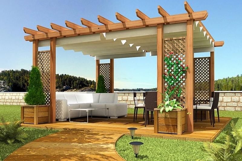 Pergotela Tende Mini model 0 + Drewniana Pergola